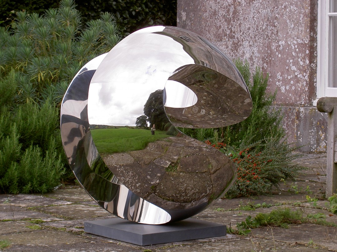 Globe with Slots by Paul Mount, stainless steel