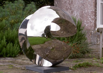Globe with Slots (working title) by Paul Mount, stainless steel
