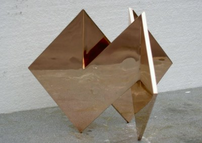 Mobius square by  J. Bowles, polished bronze