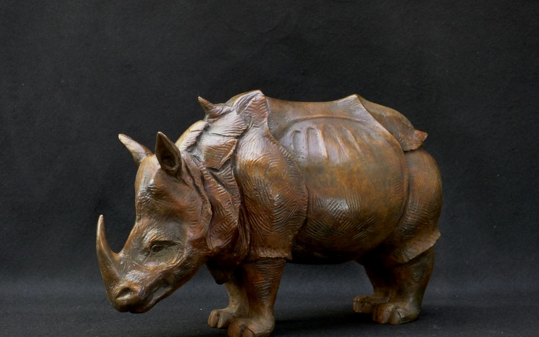 Rhino by Alan Dun – finished bronze sculpture