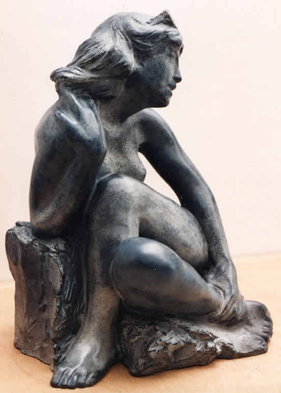 Seated-Girl bronze sculpture